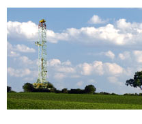 Rig near corn field